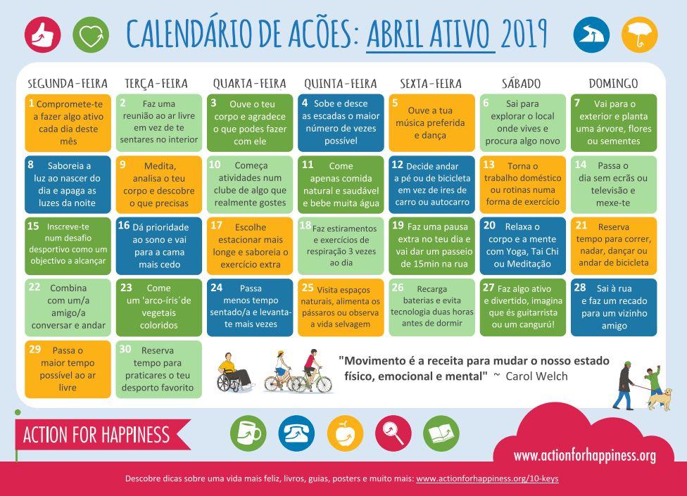 Calendário Abril Ativo 2019